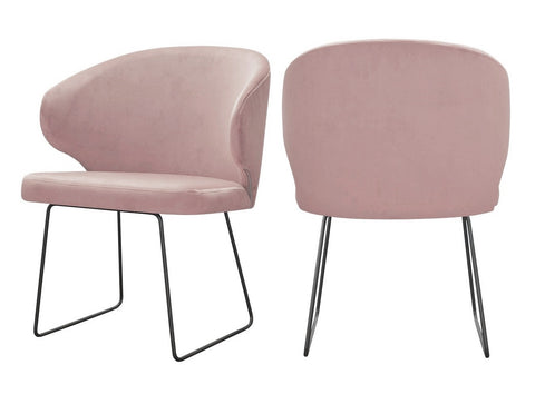 Bryson - Salmon Pink Velvet Modern Metal Base Dining Chair, Set of 2-Chair Set-Belle Fierté