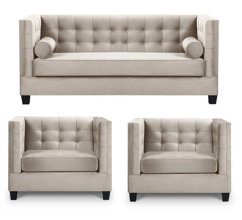 Keston - Modern Armchair Bed Sofa Set - Mink/Taupe-Sofa Set-Belle Fierté