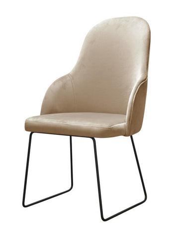 Kora - Velvet Dining Chair, Metal Base Chair-Chair-Belle Fierté