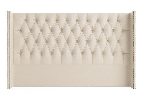 Shelly - Studded Wing Floor Standing Chesterfield Headboard- Double Size-Headboards-Belle Fierté