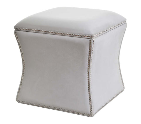 Diss - Elegant Studded Footstool with a Storage Box-Benches & Ottomans-Belle Fierté