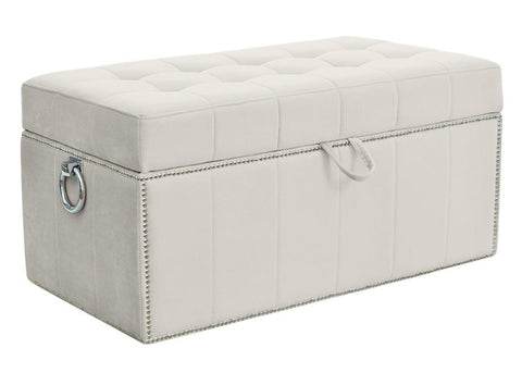 Fibo - Velvet Studded Ottoman with Pull Ring and Storage Box-Benches & Ottomans-Belle Fierté