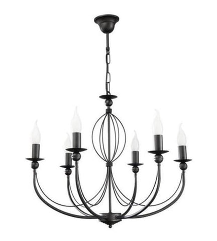 Eleanor- 6 Light Black Rustic Candle Style Chandelier-Chandelier-Belle Fierté