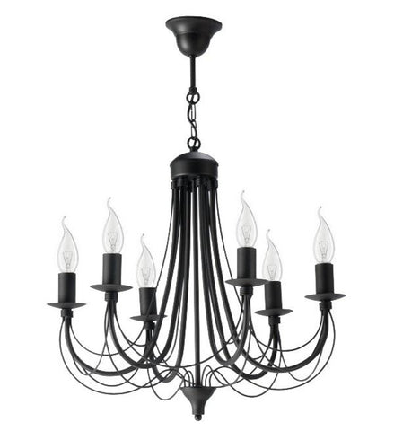 Duval - 6 Light Black Rustic Candle Style Chandelier-Chandelier-Belle Fierté