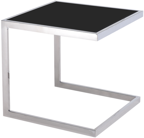 SANTIAGO- Luxury Black Glass Top Chrome Base Side Table-Side Tables-Belle Fierté