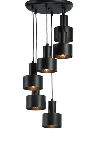 Lara - Industrial 6 Light Black Ceiling Pendant Lamp-Ceiling Lamp-Belle Fierté