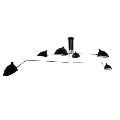 Greta- Black Extra Large Modern Industrial 6 Light Ceiling Lamp Chandelier-Ceiling Lamp-Belle Fierté