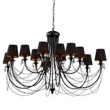 12 Black Shade Black Finish Extra Large Metal Chandelier-Chandelier-Belle Fierté