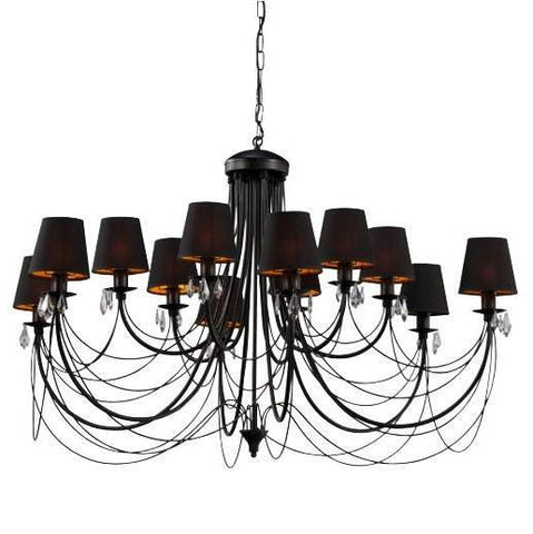 Acadia - 12 Light Glamour Black XL Chandelier-Chandelier-Belle Fierté