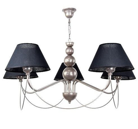 5 Arm Black Shade Silver Finish Living-room Chandelier-Chandelier-Belle Fierté