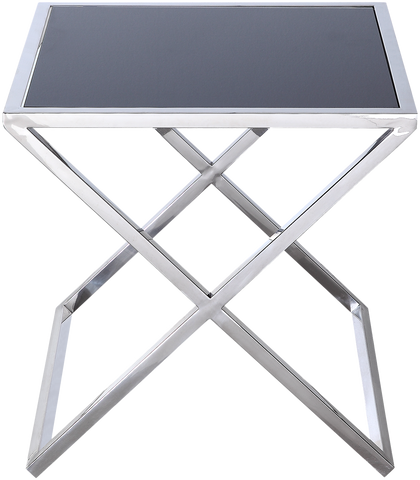 TORONTO- Luxury Black Glass Top Chrome Base Side Table-Side Tables-Belle Fierté
