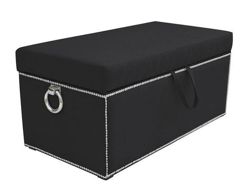Lisa - Studded Velvet Ottoman with Storage and Knocker Rings-Benches & Ottomans-Belle Fierté