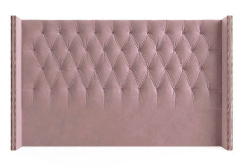 Shelly - Studded Wing Floor Standing Chesterfield Headboard- King Size-Headboards-Belle Fierté