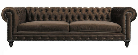 Brompton - Brown Velvet 3 Seater Chesterfield Sofa-Sofa-Belle Fierté