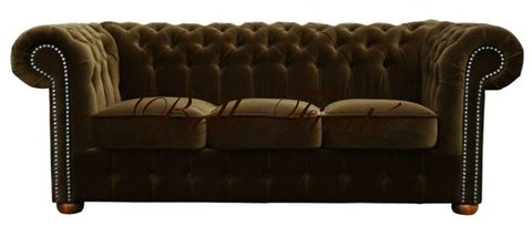 Eton - Elegant 3 Seater Chesterfield Velvet Studded Sofa-Sofa-Belle Fierté