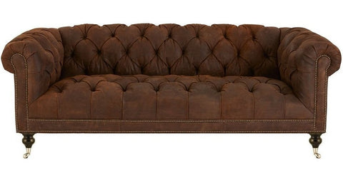 Beatrice - Genuine Italian Leather Castor Leg Chesterfield Sofa-Sofa-Belle Fierté