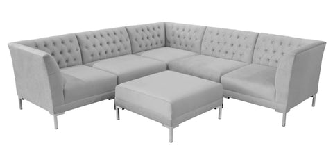 Canberra - Light Grey Contemporary Chesterfield Corner Sofa with Ottoman-Sofa-Belle Fierté