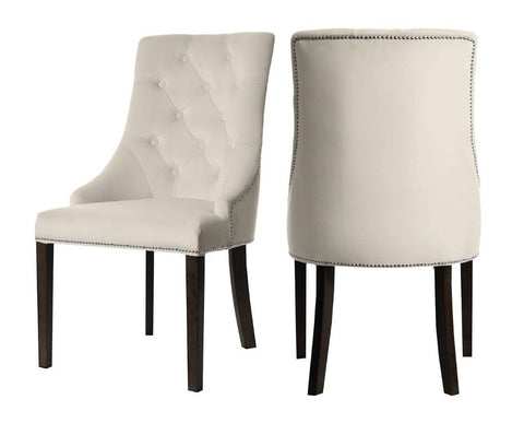 Carolyn - Beige Chesterfield Dining Chair, Set of 2-Chair Set-Belle Fierté