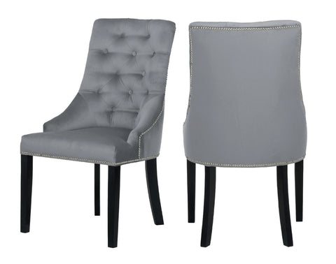 Carolyn - Grey Chesterfield Dining Chair, Set of 2-Chair Set-Belle Fierté
