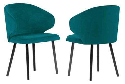 Carson - Teal Velvet Modern Dining Chair, Set of 2-Chair Set-Belle Fierté