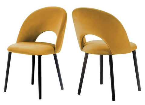 Catania - Yellow Velvet Dining Chair, Set of 2-Chair Set-Belle Fierté