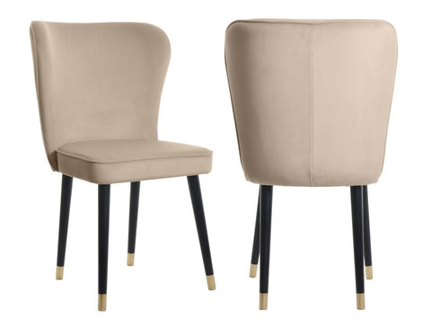 Celine - Dark Beige Velvet Dining Chair, Set of 2-Chair Set-Belle Fierté