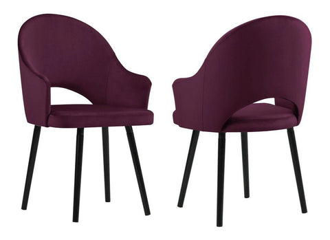 Clare - Burgundy Velvet Dining Chair, Set of 2-Chair Set-Belle Fierté