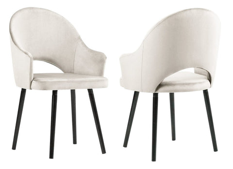 Clare - Cream Velvet Dining Chair, Set of 2-Chair Set-Belle Fierté