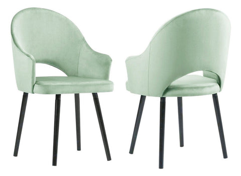 Clare - Pastel Green Velvet Dining Chair, Set of 2-Chair Set-Belle Fierté