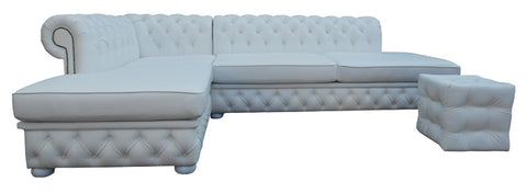 Chelsfield - L Shaped Chesterfield Corner Sofa in Faux/Eco Leather or Velvet-Sofa-Belle Fierté