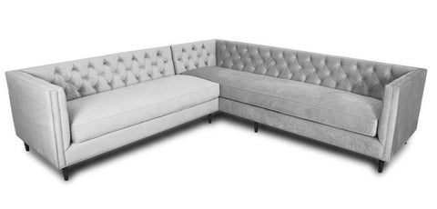 Orlando - Elegant Contemporary Chesterfield Velvet Corner Sofa-Sofa-Belle Fierté