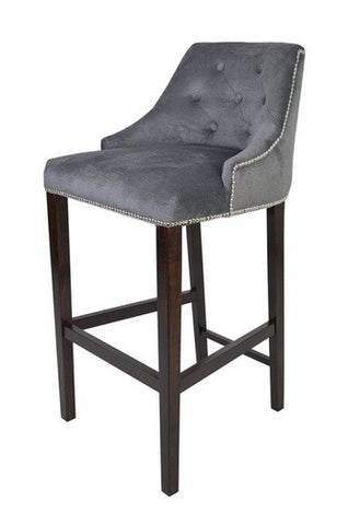Sharon - Luxury Chesterfield Studded Kitchen Stool, Velvet Bar Chair-Bar chair-Belle Fierté