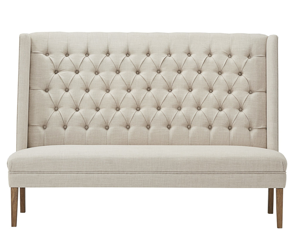 Picture of: Eliza Chesterfield Upholstered Dining Bench Tufted Settee Belle Fierte