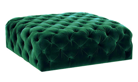 Gilbert -Tufted Velvet Ottoman, Upholstered Coffee Table-Benches & Ottomans-Belle Fierté