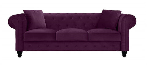Finchley - Chesterfield 3 Seater Velvet Sofa-Sofa-Belle Fierté