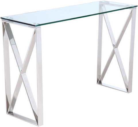 MELBOURNE- Luxury Glass Console Table, Chrome Base Glamour Console Table-Console table-Belle Fierté
