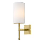 Hamilton - Contemporary Wall Lamp, White Shade Gold Finish Wall Light-Wall Light-Belle Fierté