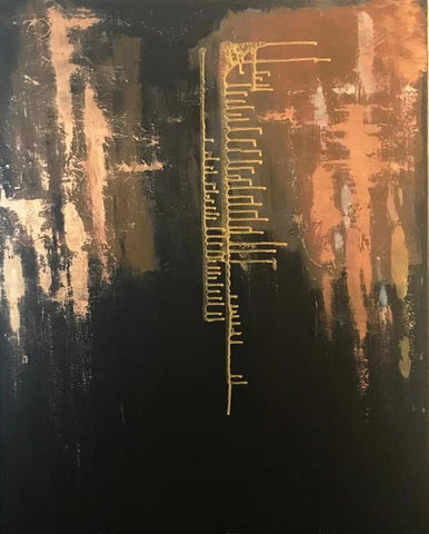 "Abstract Acrylic Painting on Canvas 100x80cm - ""Brown Gold""-Wall art-Belle Fierté"