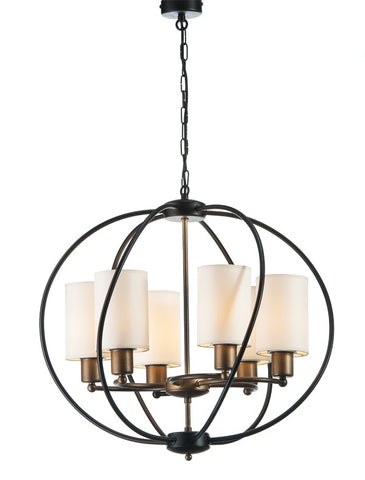 HADRIEN - 6 Light Rustic Farmhouse Oval Pendant Light, Metal Shade Chandelier-Ceiling Lamp-Belle Fierté