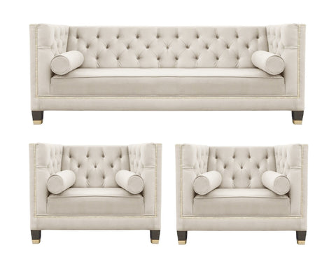 Casper - Contemporary Chesterfield Velvet Armchair Sofa Set - Beige-Sofa Set-Belle Fierté