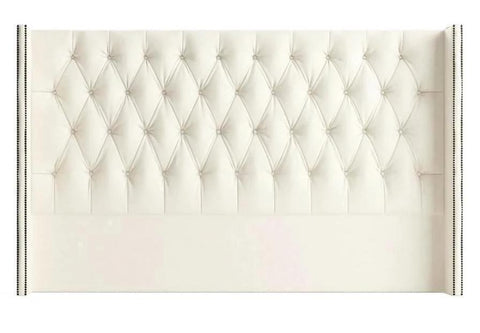 Shelly - Studded Wing Floor Standing Chesterfield Headboard- Super King Size-Headboards-Belle Fierté