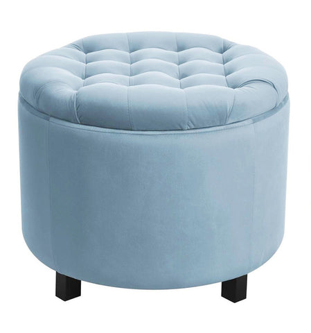 Disar - Light Blue Velvet Pouffe, Storage Footstool-Benches & Ottomans-Belle Fierté