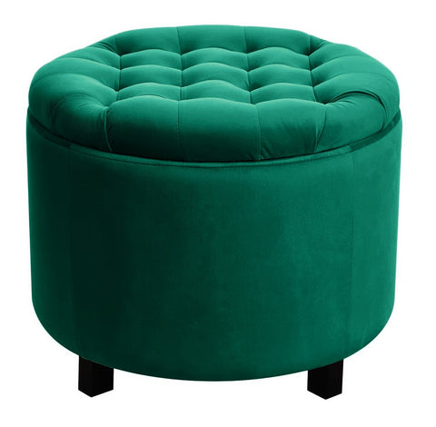 Disar - Green Velvet Pouffe, Storage Footstool-Benches & Ottomans-Belle Fierté