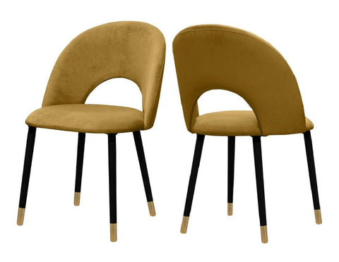 Everly - Mustard Velvet Dining Chair, Set of 2-Chair-Belle Fierté