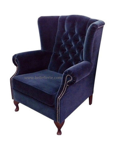 Elegant Velvet Backwing Studded Chesterfield Armchair-Armchair-Belle Fierté