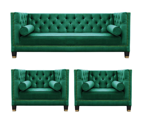 Casper IV - Contemporary Chesterfield Velvet Armchair Sofa Set- Green-Sofa Set-Belle Fierté