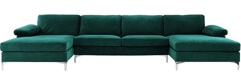 Argento - Contemporary Velvet U Shape Sofa-Sofa-Belle Fierté