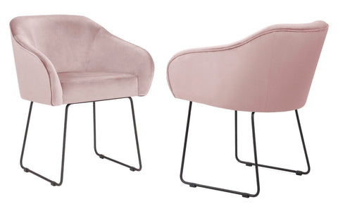 Fiori - Light Pink Velvet Dining Chair, Set of 2-Chair Set-Belle Fierté