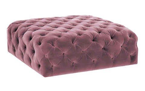Gilbert - Pink Velvet Cocktail Ottoman, 90cm Upholstered Coffee Table-Ottomans and Footstools-Belle Fierté