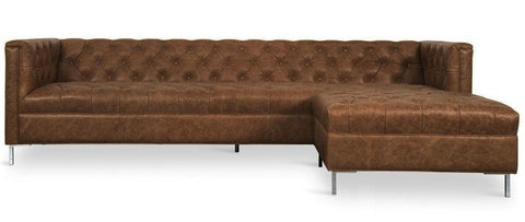 Livorno - Elegant Chesterfield Genuine Leather Corner Sofa-Sofa-Belle Fierté